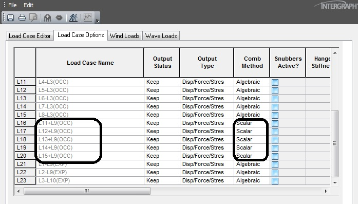 Load case Editor showing load case combination method.