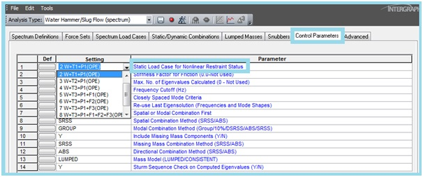 Selecting the load case for slug flow analysis