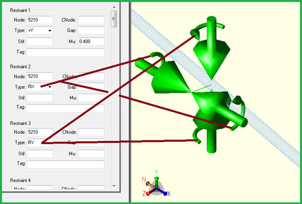 Graphical view of Rotational Restraints in Caesar II Version 10.0
