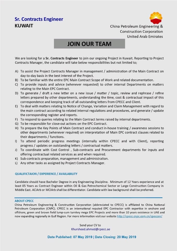 Opportunity in Kuwait for various discipline with China Petroleum