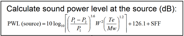 Sound Power Level formula for AIV