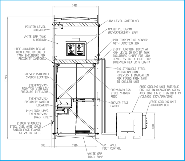 GA drawing of a combination eye wash and safety shower unit
